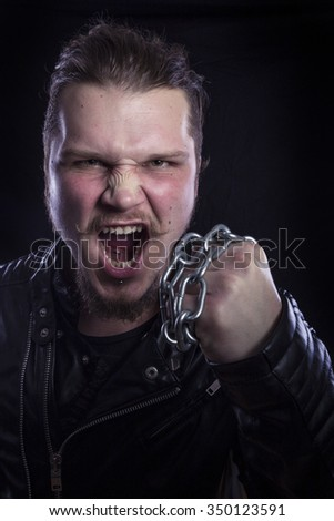 Man angry with chain