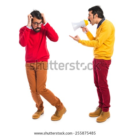 Man angry with his brother - stock photo