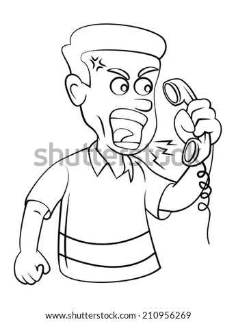 Man Angry With Telephone - stock photo