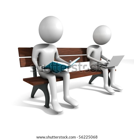 Man are sitting on the bench with white laptop and a book. Three-dimensional,  isolated on white