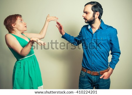 man arguing with the woman - stock photo