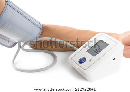 Man arm on blood-pressure meter isolated on white background. - stock photo