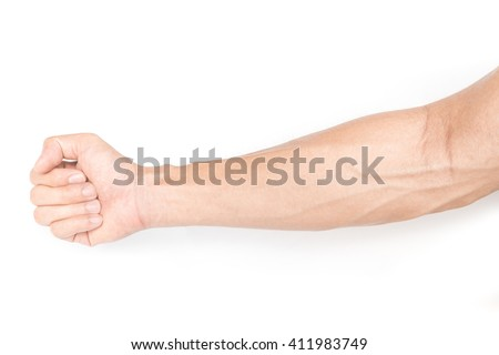 Man arm with blood veins on white background  - stock photo