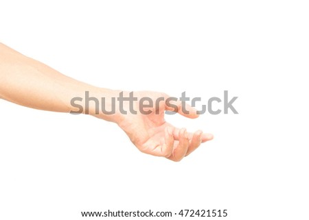 Man arm with blood veins praying on white background