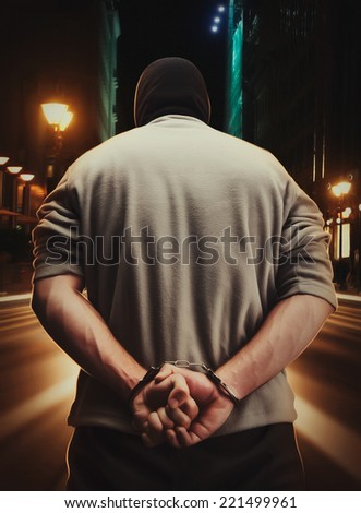 Man arrested as a consequence of his crime - stock photo