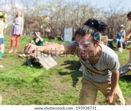 Man at a party as a small child - stock photo