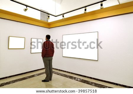 Man at Art Gallery.This is my self portrait. - stock photo