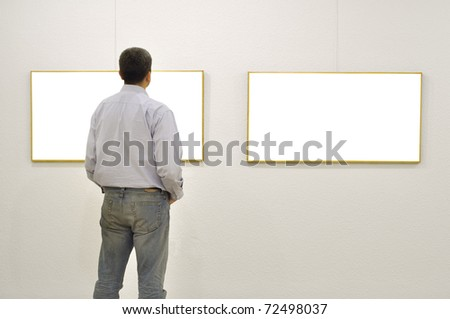 Man at Art Gallery.This is my self portrait. Other images, - stock photo