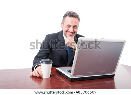 Man at office smiling holding coffee takeaway mug isolated on white background