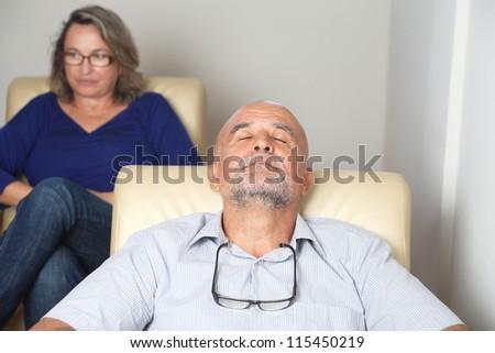 man at psychoanalysis - stock photo
