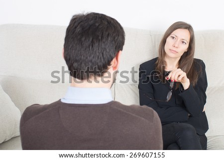Man at psychoanalysis - stock photo