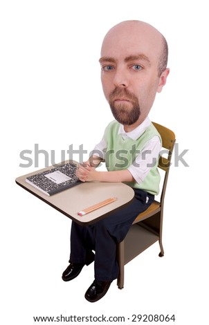 Man at school desk with book and pencils isolated over a white background - stock photo