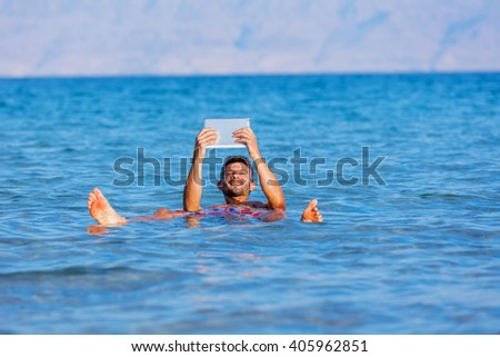 Man At The Dead Sea, Israel. - stock photo