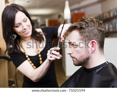 Man at the Hair salon situation - stock photo