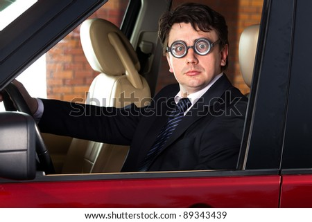 man at the wheel the car - stock photo
