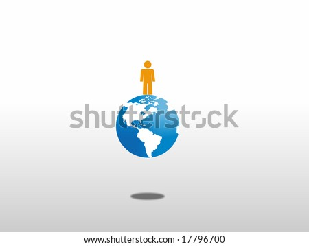 Man at top of the world. - stock photo