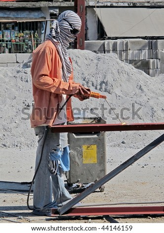 Man at work at the construction site