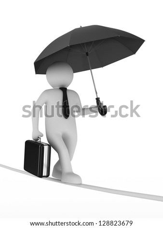 man balances on rope. Isolated 3D image - stock photo