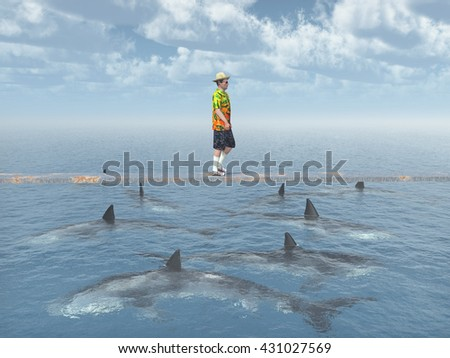 Man balancing on a board over the ocean with great white sharks Computer generated 3D illustration