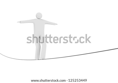 Man balancing on a tightrope. - stock photo
