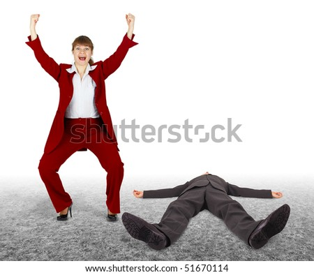 Man beaten - woman exults. The outcome of the dispute. - stock photo
