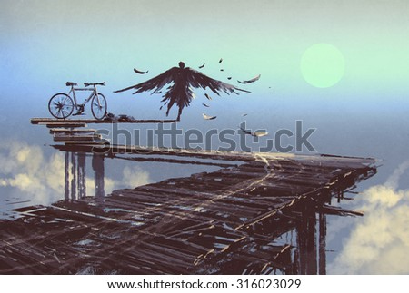 man becomes bird standing on end of line,illustration painting - stock photo
