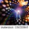 Man before giant keyhole in space abstract - stock photo