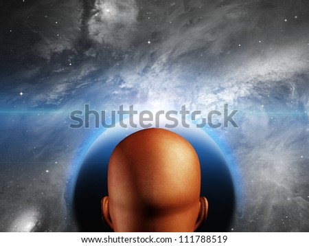 Man before new world - stock photo
