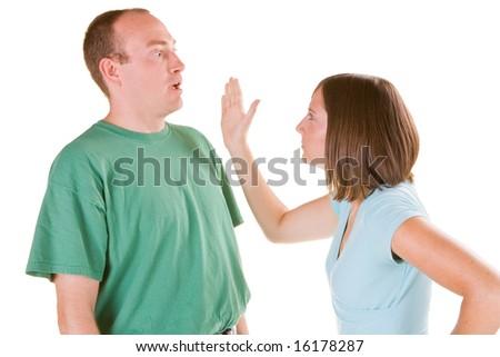 Man being slapped. - stock photo
