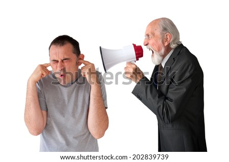 man being yelled at by senior male manager on white - stock photo