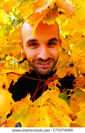 Man between many autumn leaves - stock photo