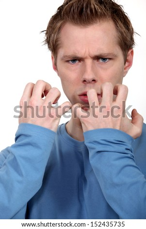 Man blowing his top - stock photo