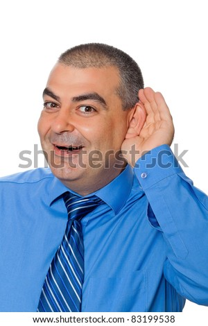 Man blue shirt tie pulls listening ear smiling isolated on white background - stock photo