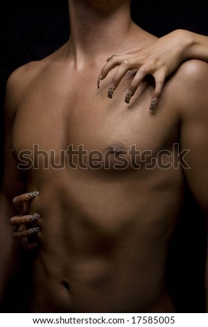 man body and woman nail - stock photo
