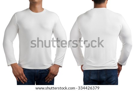 man body in white long sleeves t-shirt isolated on white background, front and back. - stock photo