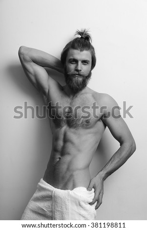 man body nude towel strong