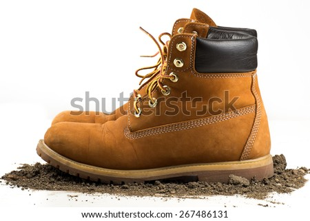 man boot adventure on white isolated background - stock photo