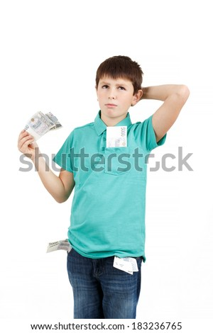 man boy holding czech crown banknotes and think how to spend them isolated on white background - stock photo
