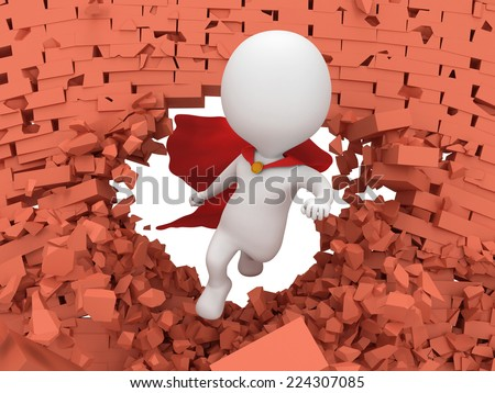 Man brave superhero with red cloak flying forward through broken brick wall with hole. 3d render. Heroic, freedom concept - stock photo