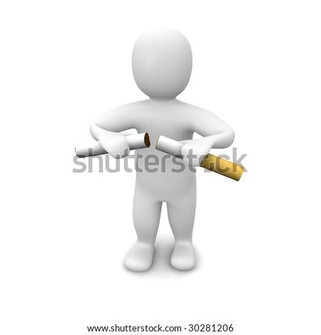 Man breaking cigarette. 3d rendered illustration. Isolated on white. - stock photo