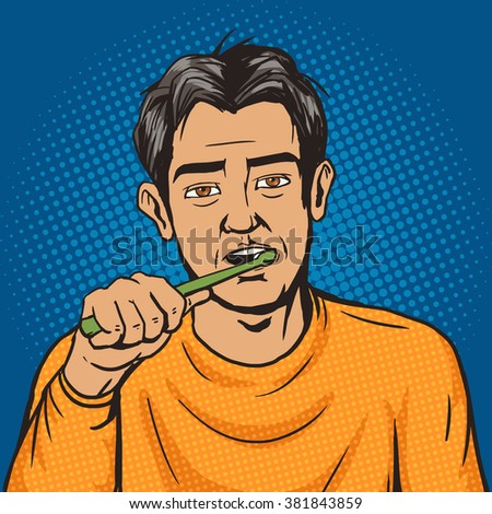 Man brushing his teeth in the morning pop art style raster. Human illustration. Comic book style imitation. Vintage retro style. Conceptual illustration