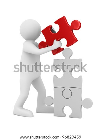 man build puzzle on white. Isolated 3D image