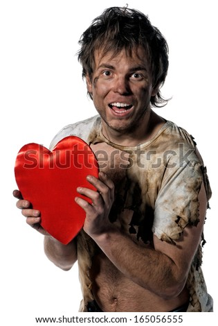 Man burnt of love with heart  - stock photo