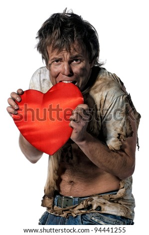 Man burnt of love with heart over white background - stock photo