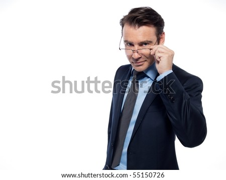 man businessman attentive intellectual holding glasses isolated studio on white background - stock photo