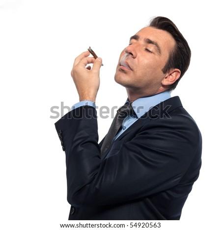 man businessman smoking drugs isolated studio on white backgroun - stock photo