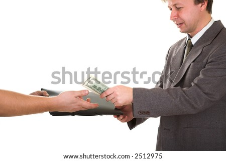 man buying black folder with document isolated on white - stock photo