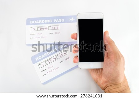 Man buying boarding pass with your smartphone