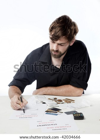 Man calculating his budget and spending, and investments