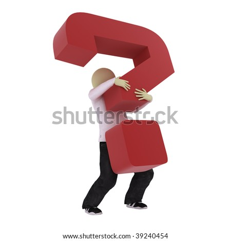 Man carry big red question mark - stock photo